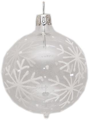 Glaskugel in klar mit Schneeflocken -  Kugel  ca. 6 cm Ø