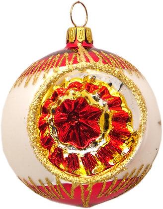 Glaskugel Reflex einfach rot-weis-gold und Goldglitter-  Kugel  ca. 6 cm Ø