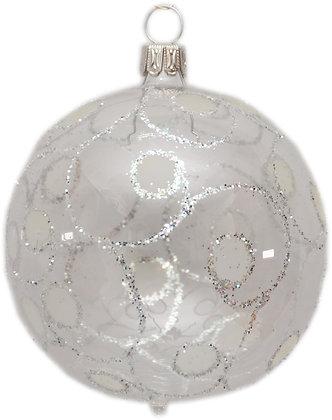 Glaskugel in mit Punkten und Silberglitter-  Kugel  ca. 6 cm Ø