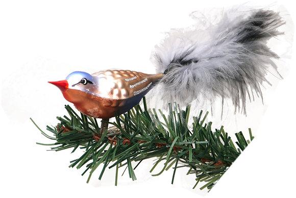 Vogel aus Glas -Amazone mit echten Federn -Länge 8 cm