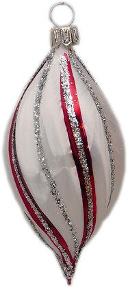 Eiform in Eisweiß u. roten Streifen und Silberglitter -  Länge 9 cm - ca. 5 cm Ø