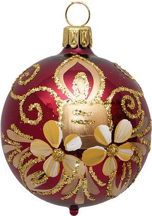 Glaskugel in Ochsenblut m. Goldkerze, Blume u. Goldglitter - ca. 6 cm Ø