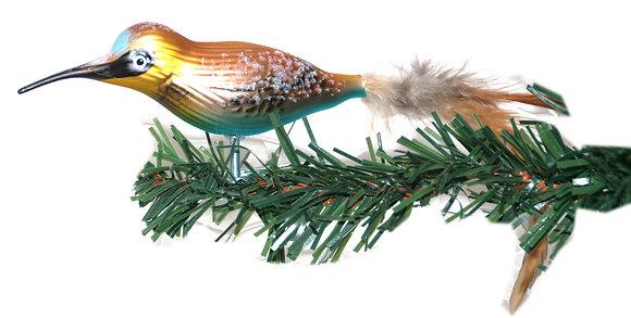 Vogel aus Glas - Kolibri mit echten Federn -Länge 10 cm