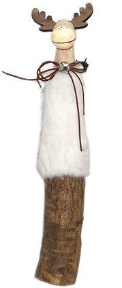 Holzast/Fell-Hirsch - Höhe 45 cm Weiß