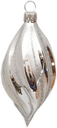 Glaskugel -  Eiform silber und Silberglitter-  Kugel  ca. 5 cm Ø