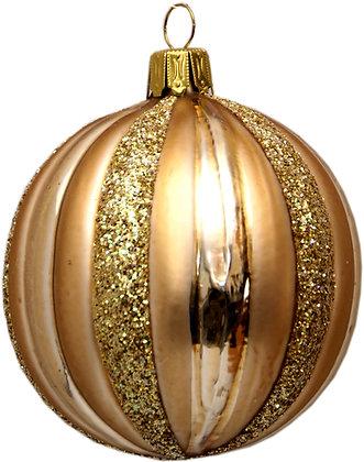 Glaskugel -Rillenkugel in Gold und Goldglitter-  Kugel  ca. 8 cm Ø