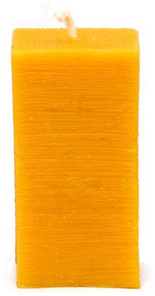 100% Bienenwachskerze  - Stumpenkerze eckig rauh -  H 9,5 - ca. 4,5 cm Ø