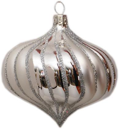 Glaskugel -  Rillenzwiebel silber und Silberglitter-  Kugel  ca. 9 cm Ø