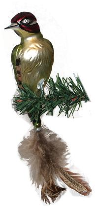 Vogel aus Glas -Grünsprecht mit echten Federn -Länge 11 cm