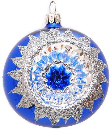 Glaskugel Reflex 1-fach blau-silber-  Kugel  ca. 8 cm Ø