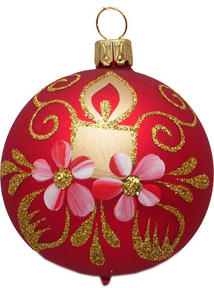 Glaskugel in  Mattrot u. Kerze und Blume und Goldglitter-  Kugel  ca. 8 cm Ø