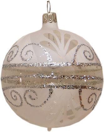 Glaskugel Kristalleisweis Lackring und Silberglitter-  Kugel  ca. 6 cm Ø