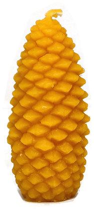 100% Bienenwachskerze  - Tannenzapfen - Höhe 10 cm - ca. 3 cm Ø