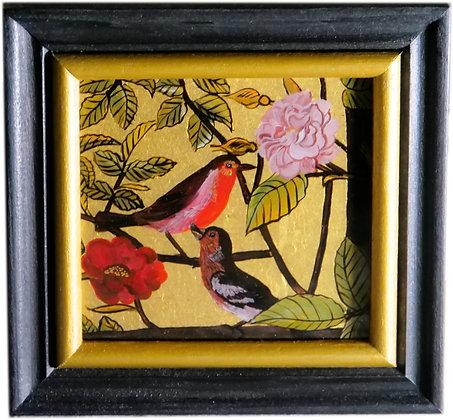 Vögel mit echtem Blattgold