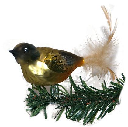 Vogel aus Glas -Grünfink mit echten Federn -Länge 10 cm