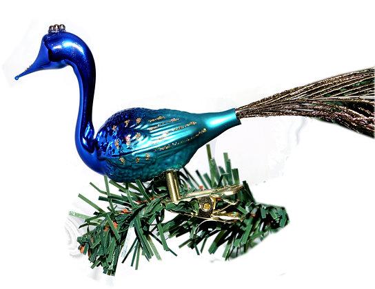 Vogel aus Glas -Pfau groß  mit echten Federn -Länge 10 cm - Höhe 8 cm
