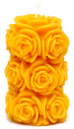 100% Bienenwachskerze  - Rosenkerze - Höhe 11.5 cm - ca. 6 cm Ø