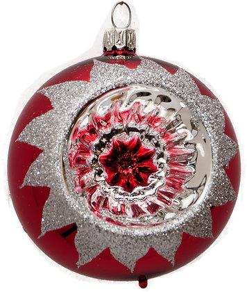Glaskugel Reflex einfach rot und Silberglitter-  Kugel  ca. 8 cm Ø