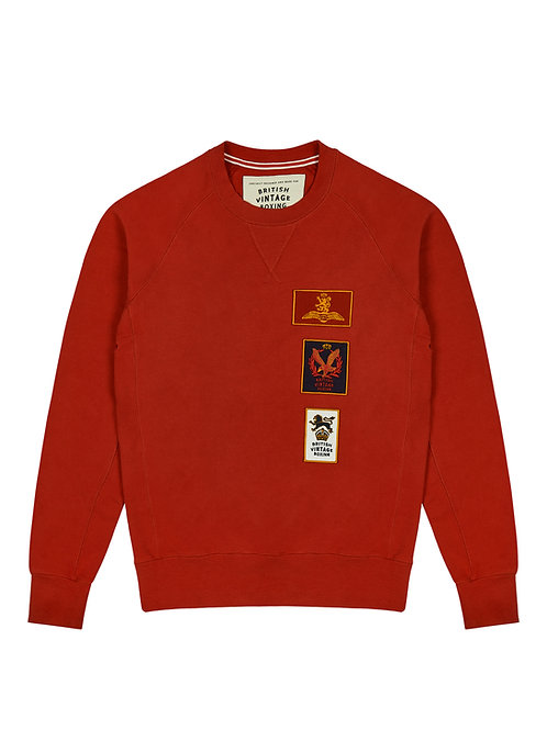 BOMBARDIER MILITARY PATCH CREWNECK SWEATSHIRT - FADED RED