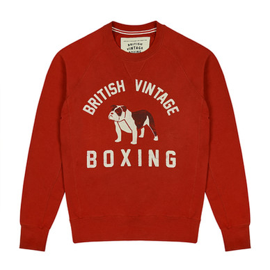 BOMBARDIER BULLDOG FADED RED CREWNECK SWEATSHIRT