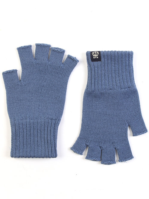 BVB RIBBED MERINO WOOL FINGERLESS GLOVES - SMALL LABEL - AIR FORCE BLUE