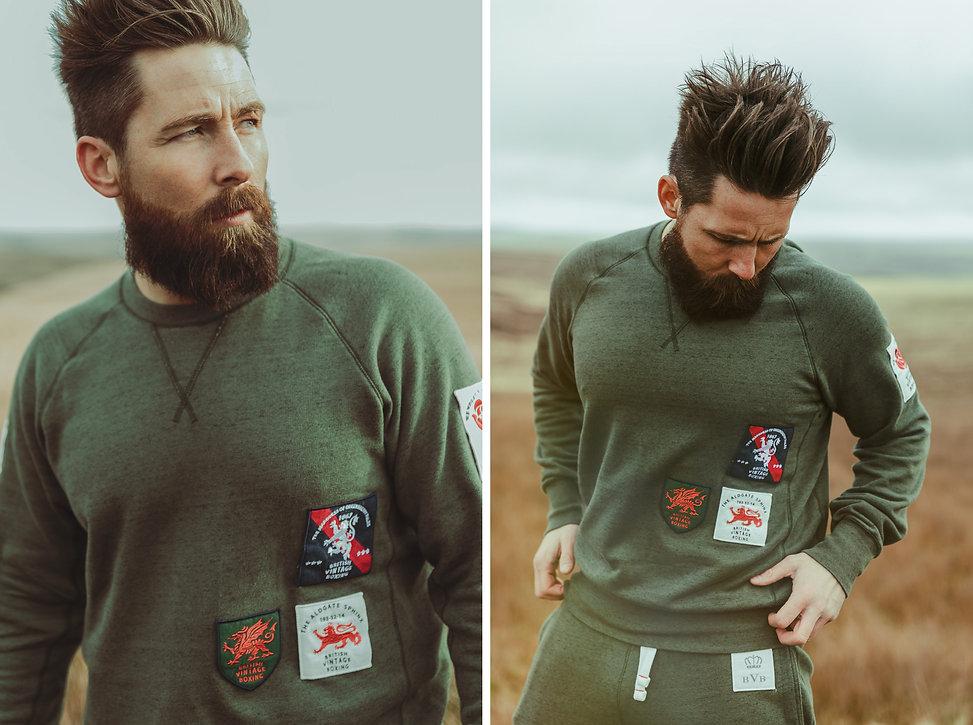 The Bombardier khaki crewneck boxing sweatshirt