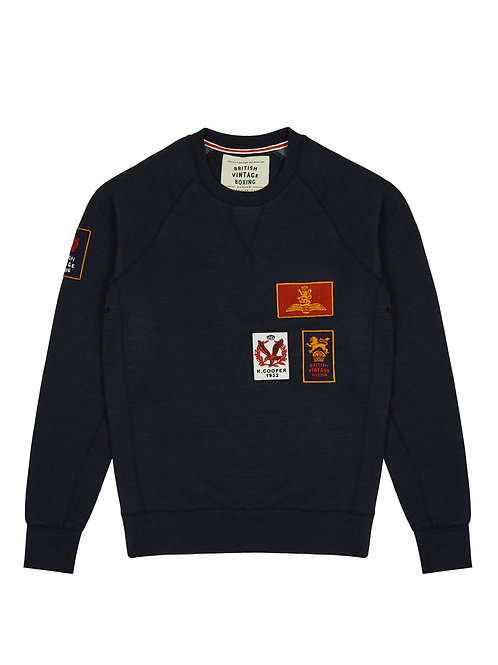 BOMBARDIER MILITARY PATCH CREWNECK SWEATSHIRT - NAVY MARL