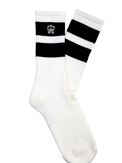 BVB STRIPED RIBBED COTTON-BLEND SOCKS