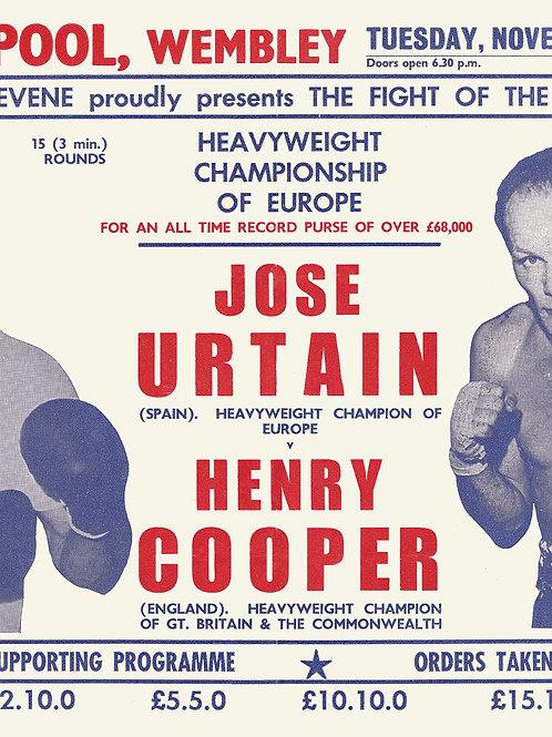 POSTER - HENRY COOPER vs. JOSE URTAIN - 1970