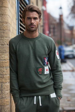 BOMBARDIER KHAKI PATCH SWEATSHIRT