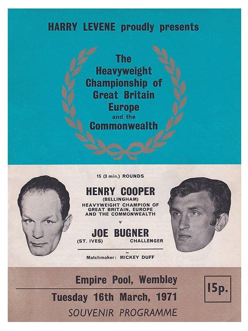 POSTER - HENRY COOPER vs. JOE BUGNER - 1971