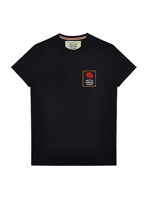 BROUGHTON BVB ROSE PATCH T-SHIRT - NAVY MARL