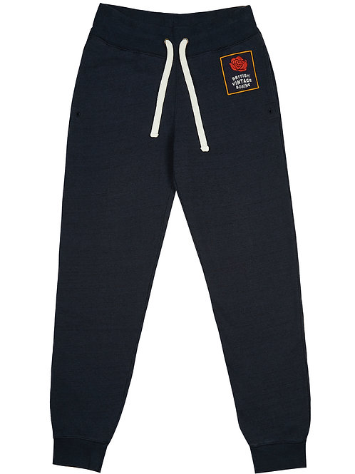 BOMBARDIER ROSE PATCH JOGGING BOTTOMS - NAVY MARL