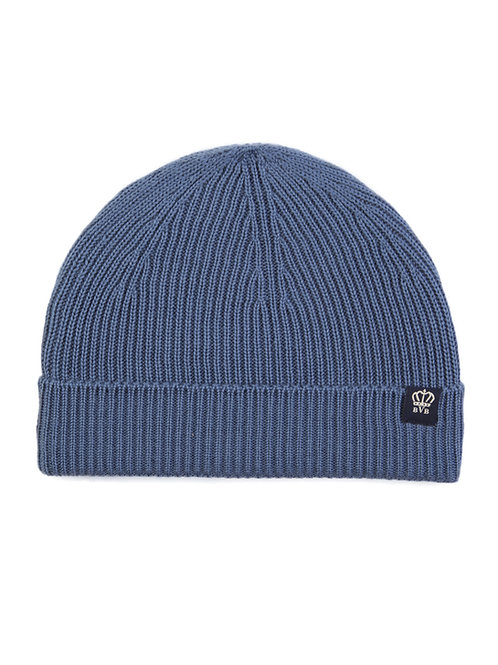 BVB RIBBED MERINO WOOL BEANIE - SMALL LABEL - AIR FORCE BLUE