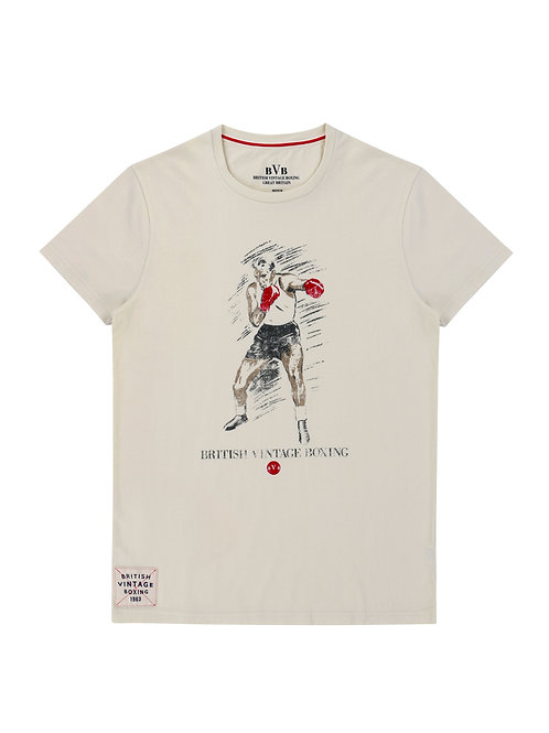 BROUGHTON OLD-SCHOOL BOXER T-SHIRT - ECRU
