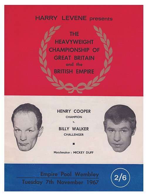 POSTER - HENRY COOPER vs. BILLY WALKER - 1967