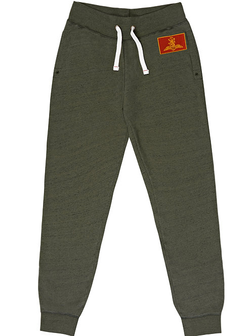BOMBARDIER MILITARY PATCH JOGGING BOTTOMS - KHAKI MARL