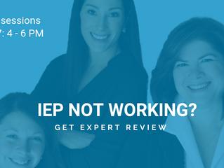 Parents' IEP Clinic Set for Nov. 27. Register NOW for your 30-min. spot!