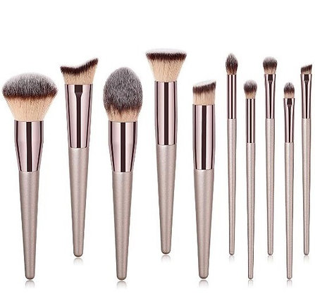 10pcs Champagne Colour Makeup Brush Set