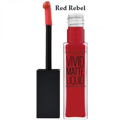 Maybelline Vivid Matte Liquid Lip Gloss- Rebel Red