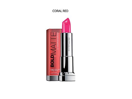 Maybelline color sensational bold matte lipstick- Coral Red