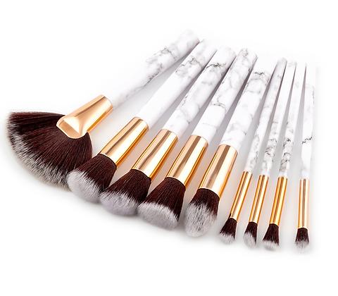 9pcs Marble Style Handle Makeup Brush Set