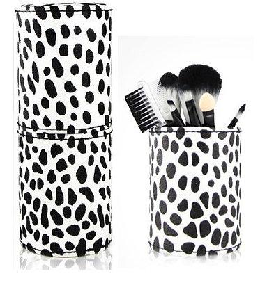 8pcs Mini Makeup Brush Set (white dots) with Black-White Case