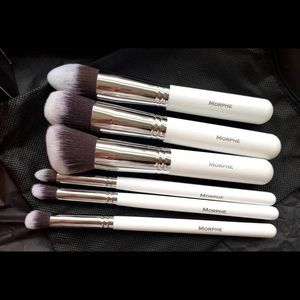 morphe 6 pieces deluxe contour brush set & zipper bag