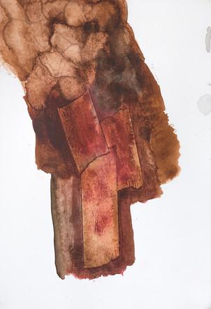 """SHROUD"" [MORTAJA] | Watercolor, painter's tape & pencil on paper | 14,5 x 21,5 cm"