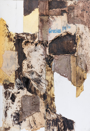 """THANK YOU BITCH"" [GRACIAS PUTA] | Collage, bitumen & pencil on paper | 14,5 x 21,5 cm"