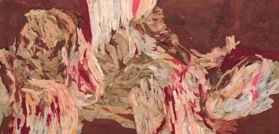 """""""RAW"""" [En carne viva]   Collage on board   120 x 60 cm"""