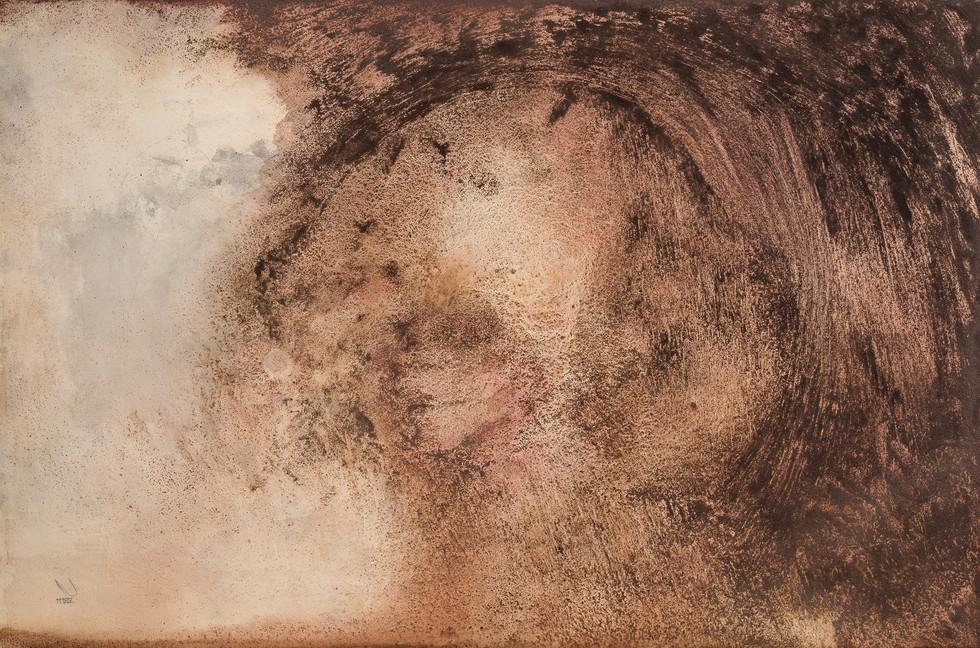 """DUST DEVIL""   Acrylic, watercolor & coffee grounds on board   122 x 81 cm"
