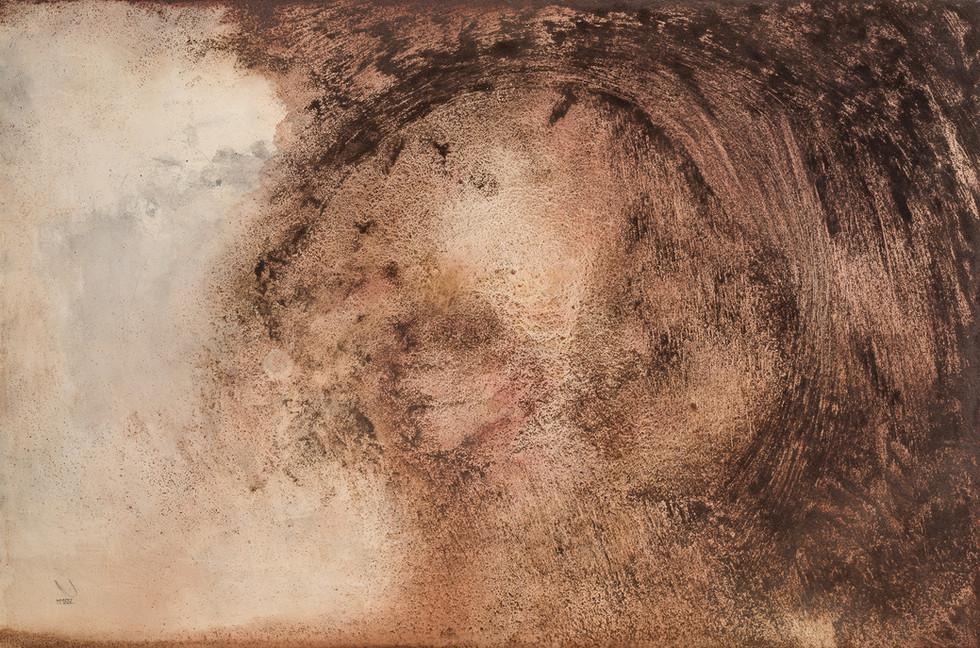 """DUST DEVIL"" | Acrylic, watercolor & coffee grounds on board | 122 x 81 cm"