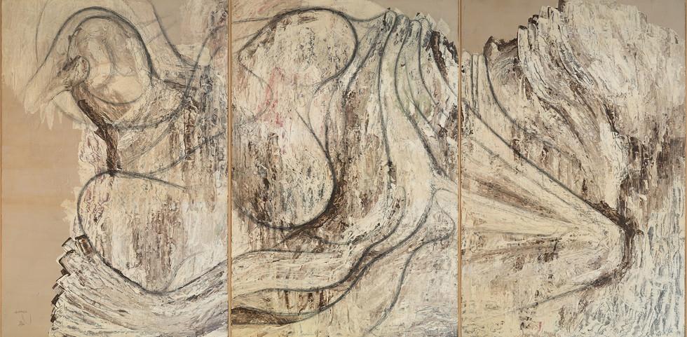 """SLOTH"" [LA PEREZA]   Acrylic & pencil on board   3 panels   81 x 122 cm (each)"